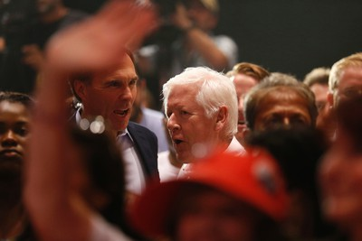 Former Liberal Bob Rae arrives at a Liberal rally with federal Liberal leader Justin Trudeau and Ontario Premier Kathleen Wynne  at the Daniels Spectrum in Regent Park on Monday August 17, 2015. Jack Boland/Toronto Sun/Postmedia Network
