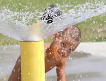 <p>Skyler Caron, 7, cools off at the Victory Park splash pad in Sudbury, Ont. on Monday August 17, 2015. People in Copper Cliff want a splash pad. John Lappa/Sudbury Star/Postmedia Network