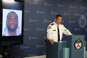 Toronto Police Supt. Shaun Narine updates the media Aug. 18, 2015 on a shooting at the House of Lancaster in December. A Canada-wide warrant was issued for Mohamud Yousef Omar, 24.(NICK WESTOLL/Toronto Sun)