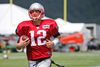 Patriots QB Tom Brady runs a drill during a joint practice between New England and New Orleans Saints in White Sulphur Springs, W.Va., on Wednesday, Aug. 19, 2015. (Steve Helber/AP Photo)