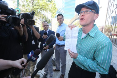Medical marijuana user Steven Stairs was not allowed into the Law Courts building Thursday, Aug. 20, 2015, because he had drug use gear with him.  Stairs was at court in support of Glenn Price, who opened a medical marijuana dispensary in Winnipeg, and now faces a slew of criminal charges.