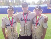 Portage la Prairie natives Lane Taylor, left, Connor Green and Brody Moffat pose with their bronze medals at the Western Canada Summer Games in Wood Buffalo, Alta. (submitted photo)