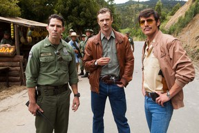 (L to R) Maurice Compte, Boyd Holbrook, and Pedro Pascal star in Netflix's Narcos. (Handout photo)