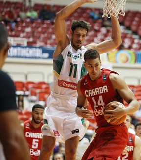 Dallas Mavericks forward Dwight Powell, of Toronto, scored 18 points and added eight rebounds for Canada in its victory over Brazil last night in the Tuto Marchand Cup. (Jose Jimenez Tirado/FIBA Americas)