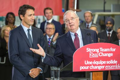 Former Canadian Prime Minister Paul Martin (right) joins Federal Liberal leader Justin Trudeau during a campaign stop at InspecTech in the Scarborough area in Toronto, Ont. on Tuesday August 25, 2015. Ernest Doroszuk/Toronto Sun/Postmedia Network