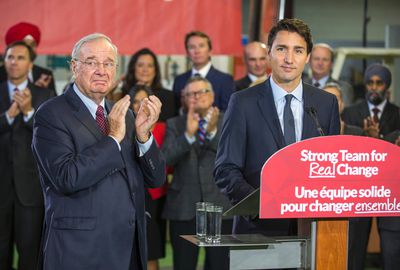 Federal Liberal leader Justin Trudeau is joined by former Canadian Prime Minister Paul Martin (left) during a campaign stop at InspecTech in the Scarborough area in Toronto, Ont. on Tuesday August 25, 2015. Ernest Doroszuk/Toronto Sun/Postmedia Network