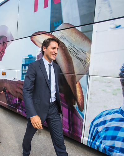 Federal Liberal leader Justin Trudeau gets back on the campaign bus during a campaign stop at InspecTech in the Scarborough area in Toronto, Ont. on Tuesday August 25, 2015. Ernest Doroszuk/Toronto Sun/Postmedia Network