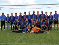 The Airdrie Football Club U14 tier-three boys team poses for a photo after they defended their provincial title Aug. 14-16 in Sherwood Park. The team earned gold at Alberta Soccer Association provincials following an undefeated outdoor season. (Back) Assistant coach Paul Godden, assistant coach Sara Djellal, Spencer Tapp, Gabriel Leal-Molina, Vladimir Gonzalez, Mohand Djellal, Tyler Quinn, Oke Okumo, Keagan Henderson, Oladipo Olatona, Evan Statnyk, Chris Roberts, head coach Mike Tapp. (Middle) Carter McIlwraith, Dilhan Wijesena, Nigel Godden, Aiden Good, Alex Norris. (Front) Owen Cory and Jerard Quejada. Front row l-r - Jason Dempsey, Quentin Martini Handout/Airdrie Echo/Postmedia Network