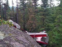 Wreckage of an Air Saguenay plane involved in an aircraft accident in the Tadoussac region in Quebec is shown in this recent handout photo. All six people aboard a seaplane that crashed on the province's North Shore have died, Quebec provincial police said Monday. The Air Saguenay plane went down in a wooded area on Sunday afternoon, police said, near the community of Les Bergeronnes, about 250 kilometres northeast of Quebec City. THE CANADIAN PRESS/HO - Transportation Safety Board of Canada