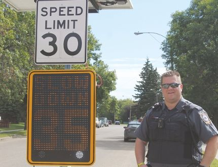 Wetaskiwin Peace Officer Trent Jager reminds motorists to slow down in school zones as students at C.B. McMurdo School are back in class and the rest of the students in Wetaskiwin Regional Public Schools and St. Thomas Aquinnis Catholic Schools are back in school next week.