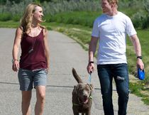 "Canadian Olympic skeleton racer Jon Montgomery, right, and wife Darla Deschamps-Montgomery walking dog ""Stark"" near their home in Calgary on July 2, 2013. THE CANADIAN PRESS/Larry MacDougal"