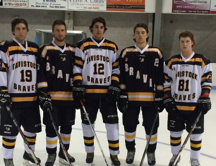 From left, Tyson Zehr, Jake Wiffen, Jamie Shoemaker, Jared Yantzi and Maverick Petrie show off the Tavistock Braves new uniforms, which they will be wearing for the first time Friday at 7:30 p.m. and Saturday at 2 p.m. when they host the Detroit Fighting Irish of the Midwest Junior Hockey League in Michigan. Submitted photo