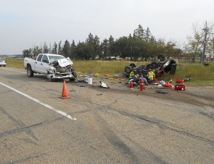 The investigation thus far indicates that a red 2012 Dodge pickup truck travelling east with five occupants on Glen Park Road crossed in front of a white 2008 Dodge pickup truck travelling north on Hwy 2A resulting in the collision. The northbound truck had only one occupant. Submitted
