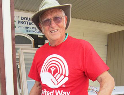 The 2015 United Way campaign in Haldimand and Norfolk got underway Friday with fundraising barbecues in Simcoe and Dunnville. Among those flipping burgers and slinging hot dogs at Turkstra Lumber on Luscombe Drive was volunteer Doug Barber of Simcoe. (MONTE SONNENBERG Simcoe Reformer)
