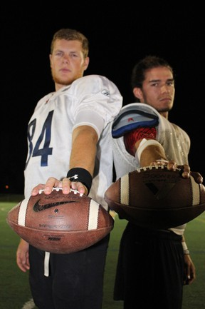 Quarterbacks Graham Kelly (left) and Nick Gorgichuk will be keys for the Ottawa Sooners, who face the two-time defending OFC champs - the Windsor AKO Fratmen - on Saturday at Carleton University.TIM BAINES/OTTAWA SUN
