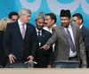 Prime Minister Stephen Harper (L) at the Ahmadiyya Muslim Jama'at, Canada's largest National Islamic Convention on Friday August 28, 2015 in Mississauga Ontario. Veronica Henri/Toronto Sun/Postmedia Network