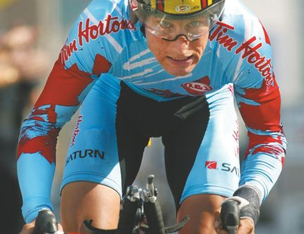 Canada's Eric Wohlberg powers his way down the course in the elite men time trials event at the World Road Cycling Championships in Hamilton, Ontario, Thursday, Oct. 9, 2003. Wohlberg placed 25th in the event won by Great Britain's David Millar Ryan Remiorz/Canadian Press