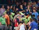 Rescue workers carry an injured fan from the stands at Turner Field during a baseball game between Atlanta Braves and New York Yankees Saturday, Aug. 29, 2015, in Atlanta. The fan was given emergency medical treatment and taken to a hospital after falling from the upper deck into the lower-level stands. (AP Photo/John Bazemore)