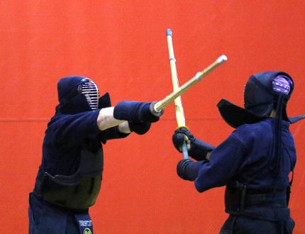With bamboo swords and protective gear, kendo practitioners run through some drills recently at the YMCA in Stratford. The new Stratford Kendo Club will be taking on new members during the month of September. MIKE BEITZ/The Beacon Herald