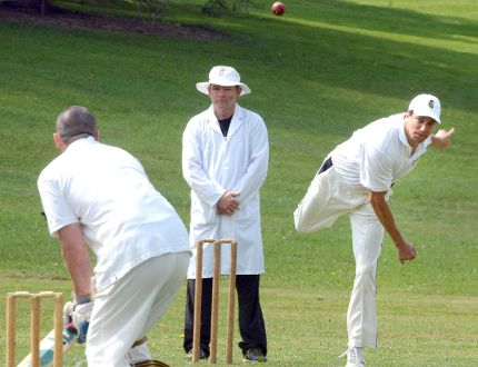 Stratford Festival actor and Blake's Blokes team member Jonathan Winsby delivers during the annual cricket match between members of the Shaw Festival and the Stratford Festival in Lower Queen's Park on Monday. (SCOTT WISHART, The Beacon Herald)