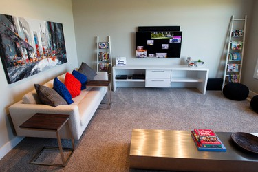 A living room in the $1.9 million Stollery Children's Hospital Foundation Mighty Millions Lottery grand prize show home, in Edmonton Alta. on Tuesday Sept. 1, 2015. David Bloom/Edmonton Sun/Postmedia Network