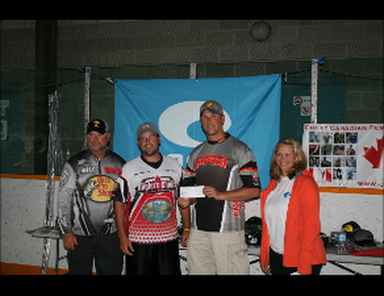 Mike Desforges (left) and Clint Hurd (second from right) collect their w