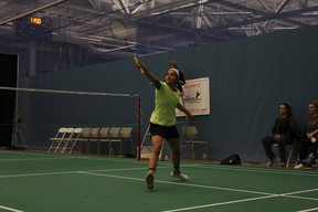 Reigning ACAC women's singles badminton champ Rachael Smillie shows her winning form (Supplied photo).