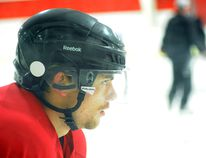 Cory Morrell gets ready for a drill during the Brockville Tikis camp at the Centennial Youth Arena on Tuesday. (JONATHON BRODIE/The Recorder and Times)