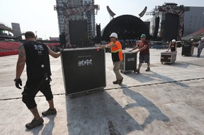 An AC/DC production crew sets up the stage at TD Place in Ottawa Wednesday Sept 2, 2015. The iconic band will be performing an outdoor concert at TD Place Thursday Sept. 3.  Tony Caldwell/Ottawa Sun/Postmedia Network