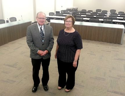 St. Clair Catholic District School Board director of education Dan Parr, left, and Carol Bryden, chair of the board of trustees, stand in the newly renovated board room of the Catholic Education Centre, in Wallaceburg, Ont. on Tuesday, Sept. 1, 2015, which has undergone at $1.2 million renovation. Ellwood Shreve/Chatham Daily News/Postmedia Network