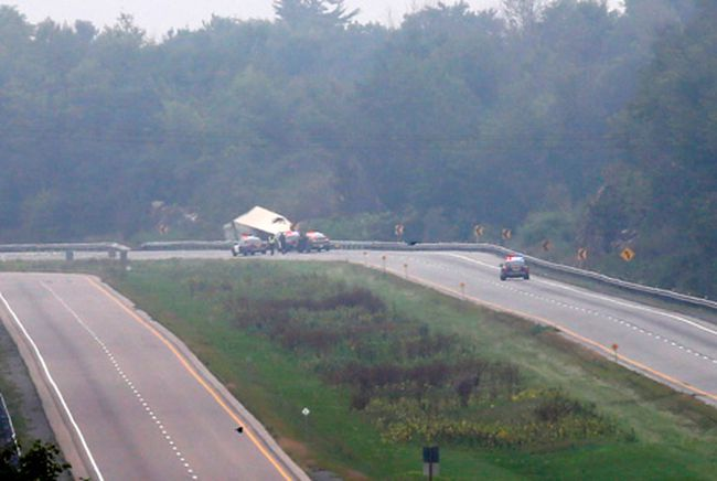 OPP remained at the scene of a fatal accident involving a transport driver just west of Sherwood Springs Road on Thursday, September 3, 2015, west of Brockville, Ont.