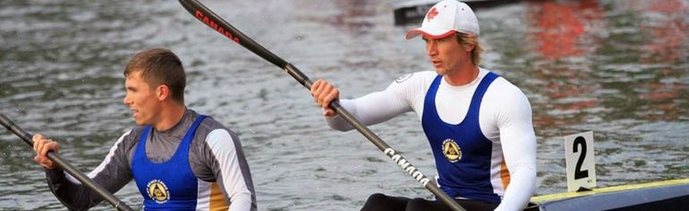From left, Keir Johnston won gold alongside Anatoly Mykhayletsky in the K2 500-metre race at the Canadian Sprint Canoe Kayak Championships. Johnston, a 23-year-old rower who has lived in Strathroy and Sarnia, competed for the Toronto-based Balmy Beach Canoe Club.  (Handout)