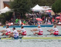 The Canadian men's four crew, which includes local Conlin McCabe, finished their semifinal race at the World Rowing Championships in third place on Thursday to earn their spot in the finals, as well as the 2016 Olympics. ( PHOTO BY KATIE STEENMAN, COURTESY OF ROWING CANADA)
