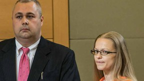 "In this May 13, 2015 file photo, Angelika Graswald, right, stands in court with Michael Archer a forensic scientist, as her attorneys ask for bail and to unseal the indictment against her during a hearing, in Goshen, N.Y.  In a video obtained by CBS's ""48 Hours,"" Graswald, who is charged with killing her fiancé by sabotaging his kayak on New York's Hudson River, tells a detective in video of her interrogation that she wanted her husband-to-be dead. (Allyse Pulliam/Times Herald-Record via AP, Pool, File)"