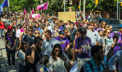 People make their way along St. George St, south from  Bloor St W during the CUPE 3902 Women's Caucus Demonstration Against Gendered Violence in Toronto, Ont.  on Monday September 14, 2015. Ernest Doroszuk/Toronto Sun/Postmedia Network