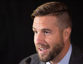 NHL player Simon Gagne announces his retirement after 15 years in the league, Tuesday, September 15, 2015 in Quebec City. THE CANADIAN PRESS/Jacques Boissinot