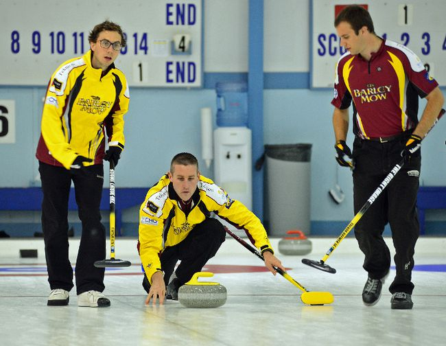Matt Dupuis makes the shot, with teammates Bill Woods, at left, and Trevor Brewer beside him, at the Stu Sells Oakville Tankard in this Sept. 3 file photo. Dupuis, from Cornwall, is competing in the Shorty Jenkins Classic, which takes place at the Cornwall Curling Centre starting on Thursday. 