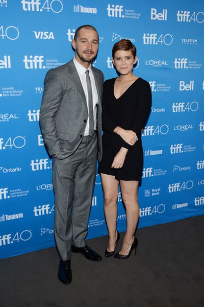 """Shia LaBeouf, left, and Kate Mara attend a press conference for """"Man Down"""" on day 6 of the Toronto International Film Festival at the TIFF Bell Lightbox on Tuesday, Sept. 15, 2015, in Toronto. (Photo by Evan Agostini/Invision/AP)"""