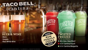 """This promotional image provided by Taco Bell shows some of the alcoholic beverages the fast food chain says it will soon be offering at a location in Chicago. Another location in San Francisco will have beer and wine, but no mixed drinks. The restaurant design is called """"Taco Bell Cantina"""" and features an open kitchen and a menu of """"tapas-style"""" appetizers in the evening. (Taco Bell via AP)"""