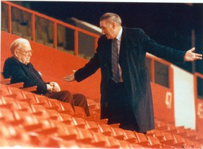 Former Maple Leafs general manager Gerry McNamara (right) always had to plead his case to then-owner Harold Ballard. (Toronto Sun/Files)