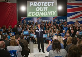 Conservative leader Stephen Harper  speaks to supporters while campaigning Tuesday, September 15, 2015,  in Pitt Meadows, B.C. THE CANADIAN PRESS/Ryan Remiorz