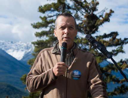 Former national park warden Kevin Van Tighem speaks at the launch of the Fight For Your Parks campaign in Banff National Park on Wednesday, Sept. 16, 2015. (Daniel Katz/ Crag & Canyon/ Postmedia Network)