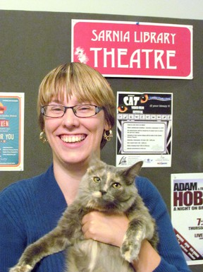 Lise Babcock, with the Sarnia Cat Video Film Festival, holds a friend name Tikka. This year's festival is set for Sept. 26, 1:30 p.m. to 4 p.m., at the Sarnia Library Theatre. Handout/Sarnia Observer/Postmedia Network