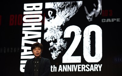 """Masachika Kawata, """"Resident Evil"""" series producer of the Capcom company introduces the new """"Resident Evil"""" titles during the Sony Computer Entertainment Japan Aisa (SCEJA) press conference in Tokyo on Sept. 15, 2015. SCEJA held the event prior to the Tokyo Game Show starting on Sept. 17. (AFP PHOTO/TOSHIFUMI KITAMURA)"""