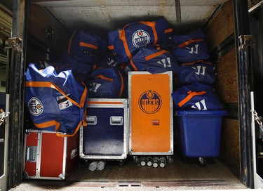 An Edmonton Oilers' truck is packed and loaded up with players equipment and team gear at Rexall Place in Edmonton on Thursday Sept. 17, 2015. The Oilers start their full on-ice 2015 training camp in Leduc from Friday till Monday.  Tom Braid/Edmonton Sun/Postmedia Network.