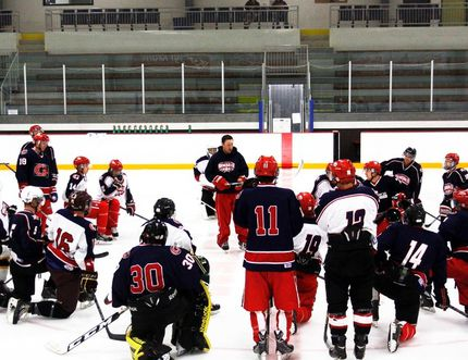 Cochrane Generals head coach Evan McFeeters (middle) leads the troops in training camp at SLS Family Sport Centre. Their exhibition season begins at home Sept. 17 in the Preseason Showdown organized by the Gens.