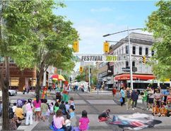 """Artist's rendering shows a stretch of Dundas Street downtown transformed into a """"flex street,"""" closed to vehicles during public events."""