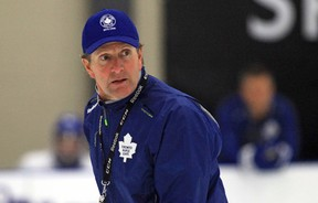 Head coach Mike Babcock runs the team through drills during a practice as part of the Toronto Maple Leafs' training camp at the BMO Centre in Halifax, N.S., on Sunday, Sept. 20, 2015. (THE CANADIAN PRESS/Jeff Harper)