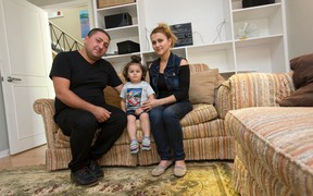 Iraqi Saifan Istefan, his Syrian wife, Talar Donian, and their son, Zenos, 2, have fled violence in their homelands for the safety of London, where they share a home provided by sponsors at King?s University College with another refugee family from the war-torn region. (CRAIG GLOVER, The London Free Press)