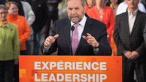 NDP leader Tom Mulcair addresses supporters during a campaign stop in Moncton, N.B. on Tuesday, Sept. 22, 2015. THE CANADIAN PRESS/Andrew Vaughan